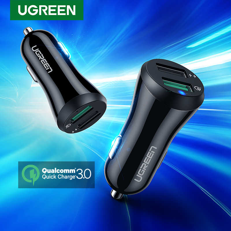 Ugreen USB Car Charger Quick Charge 3.0 Fast Charger สำหรับ Xiaomi Mi 9 iPhone Samsung S10 S9 QC 3.0 USB รถชาร์จโทรศัพท์มือถือ