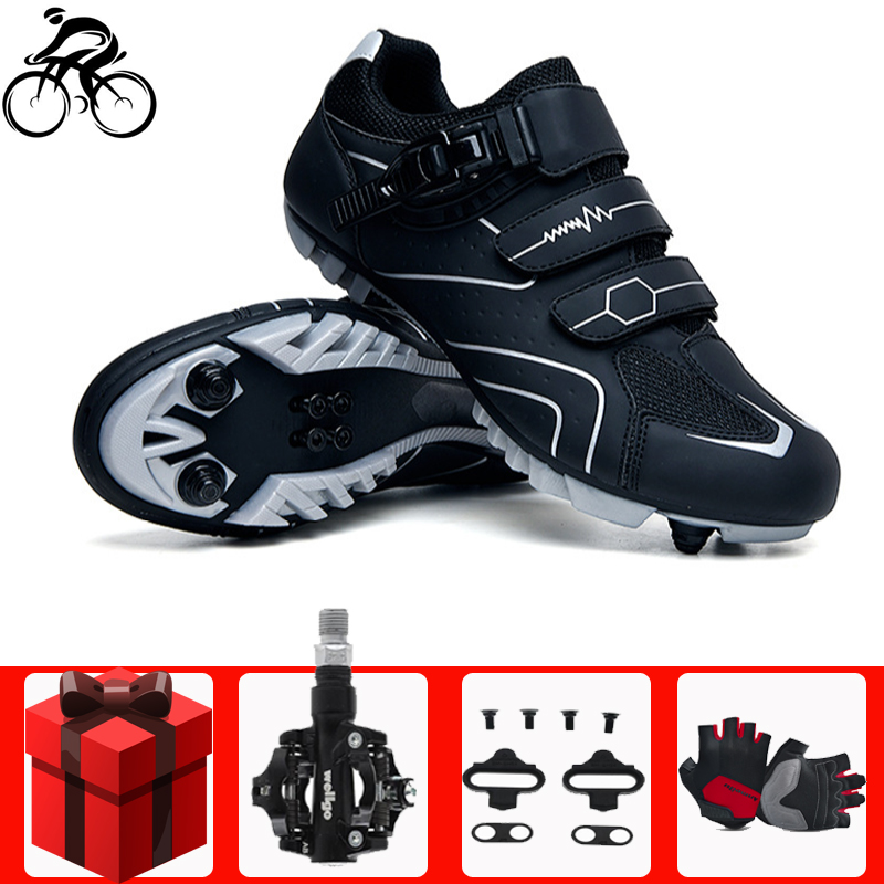 Велосипедная обувь с автоблокировкой, набор велосипедных перчаток, набор педалей для горного велосипеда, профессиональные гоночные велоси...