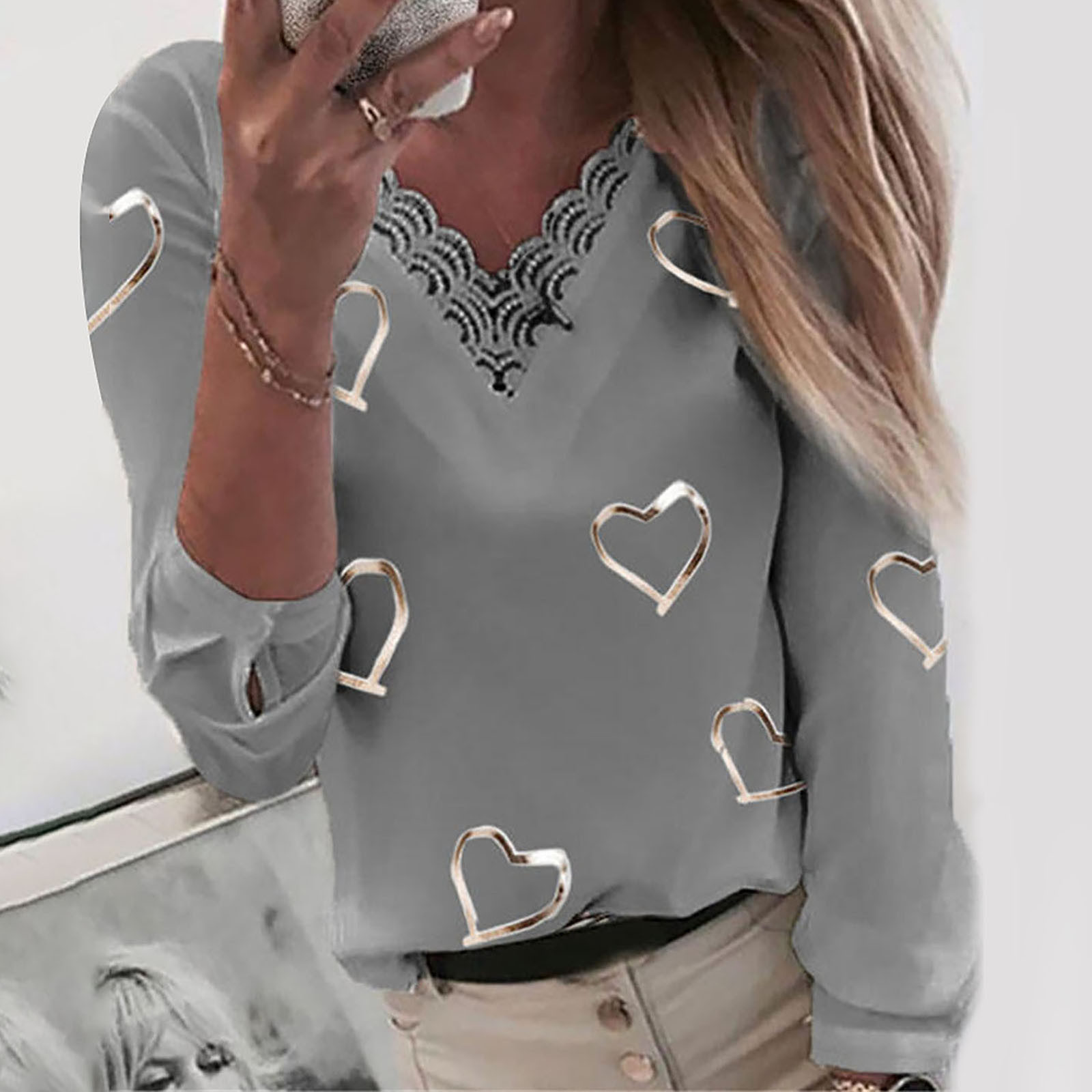 40# Lace Elegant Blouses Women Hearts Print V neck Lace Patchwork Long Sleeve Tee Shirt Top Blouse Oversize Plus Size Ropa Mujer