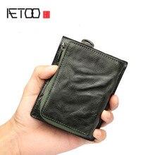 Aetoo carteira masculina retro seção curta couro masculino vintage juventude seção transversal carteira carteira carteira carteira de couro completo carteira walle