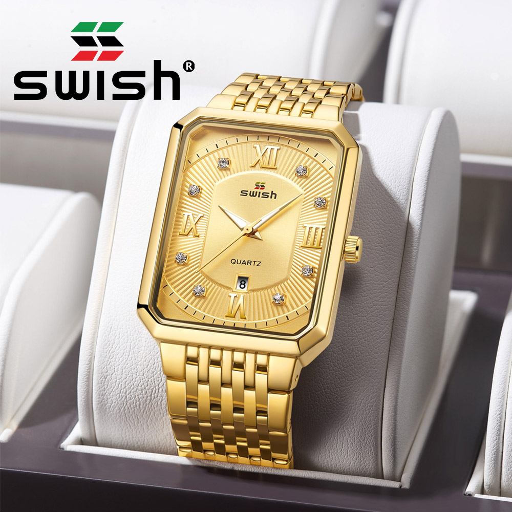 SWISH Gold Rectangle Watches Men Stainless Steel Luminous Business Wristwatch Fashion Sports Military Quartz Clocks 2020 Reloj