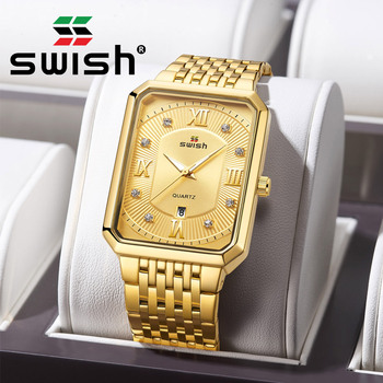 SWISH Gold Rectangle Watches Men Stainless Steel Luminous Business Wristwatch Fashion Sports Military Quartz Clocks 2020 Reloj - discount item  90% OFF Men's Watches