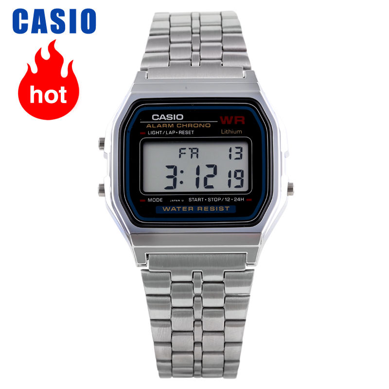 Casio Digital Clock Steel-Belt Silver Retro Simple Men's A159WA-N1 title=