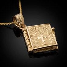 Venda quente senhoras religiosas colar ouro openable bíblia livro pingente colar cristão judaísmo católico ortodoxo jóias