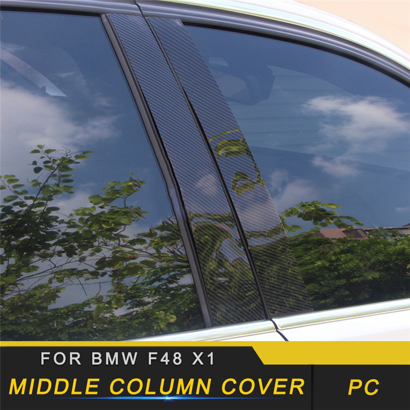 For <font><b>BMW</b></font> F48 <font><b>X1</b></font> 2016 <font><b>2017</b></font> 2018 Auto Car-styling Middle Column Black Film Protector Trim Sticker Cover <font><b>Accessories</b></font> image