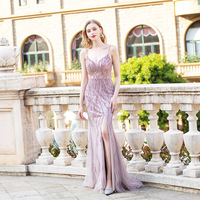 Light Purple Crystals Beaded Long Evening Dresses Straps Tulle Slit Mermaid Formal Evening Gown Backless Custom Made