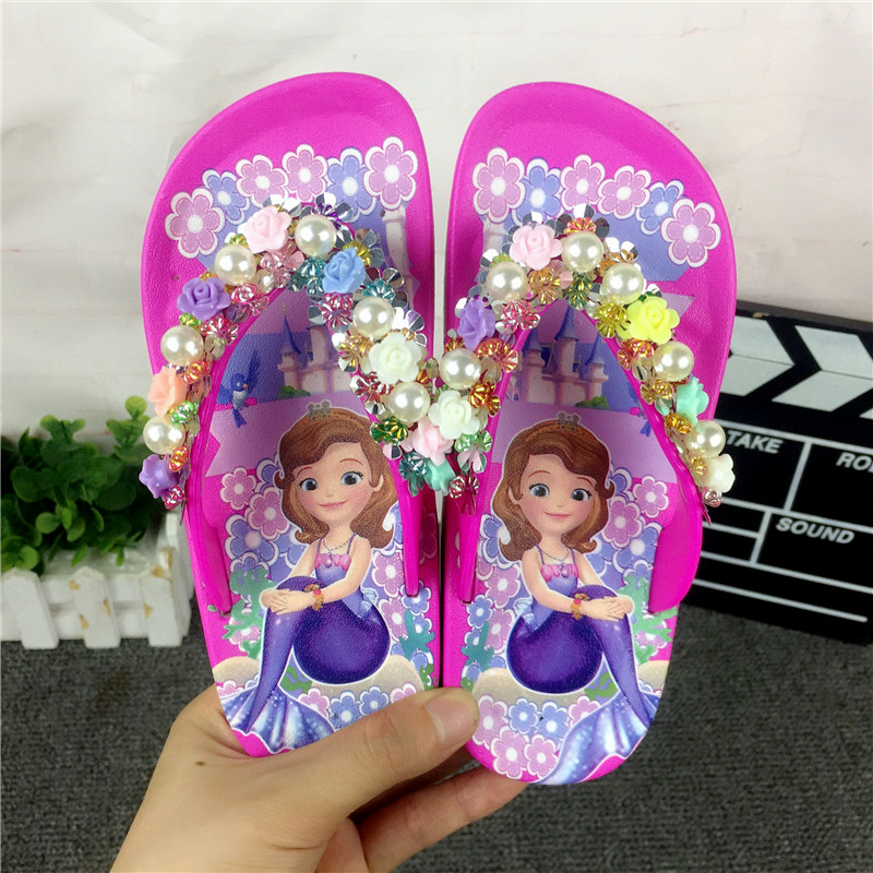 JY 2020 Summer Children Girls Sofia With Flower Princess PVC Beach Slippers Non-slip Flip Flop 26-39 2colors LS01
