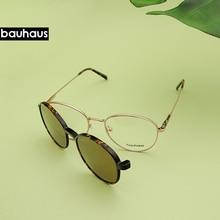X103 BAUHAUS Magnet polarized women men sunglasses high quality Retro Round metal frames glasses fashion Brand sun glasses UV400