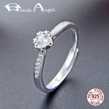 925 Sterling Silver Crystal Engagement Flowers Adjustable Ring for Women Wedding CZ Fine Jewelry helon sterling silver 925 flawless 8mm round 2 4ct natural white topaz engagement wedding ring for women trendy fine jewelry