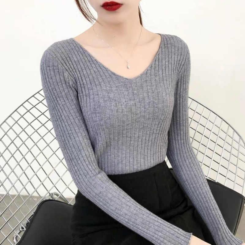 ฟรีขนาดPulloverหญิงแขนยาว 10PCSเสื้อกันหนาวถักV-Neck Basicฤดูใบไม้ร่วงคุณภาพสูงเสื้อกันหนาวผู้หญิงฤดูหนาว