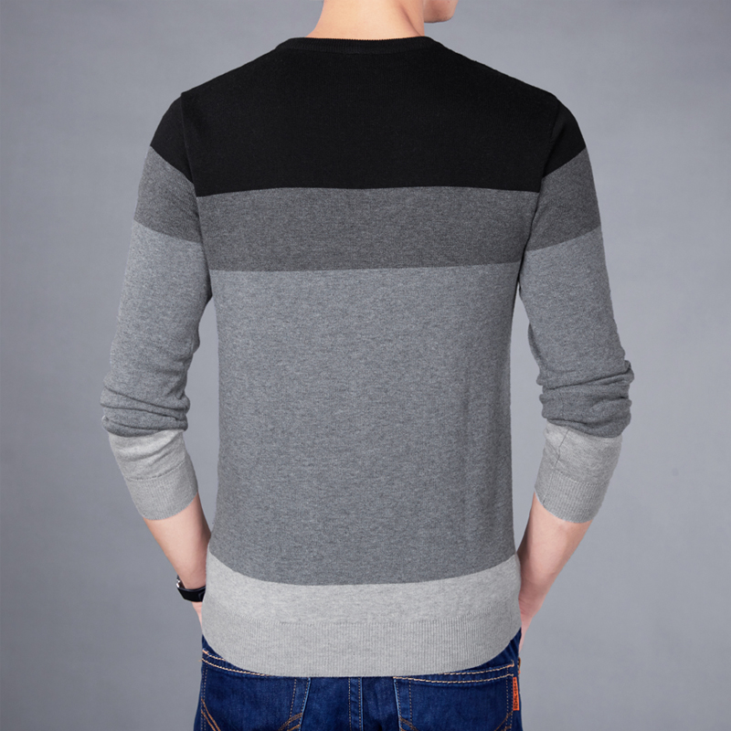 2019 New Casual Pullover Men Spring Round Neck Patchwork Quality Knitted Brand Male Sweaters Plus Size 3XL Mens Sweater 4