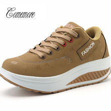 Wedge-Sneakers Comemore Platform Sport-Shoes Soles Tennis Women's Khaki on Feminino Thick