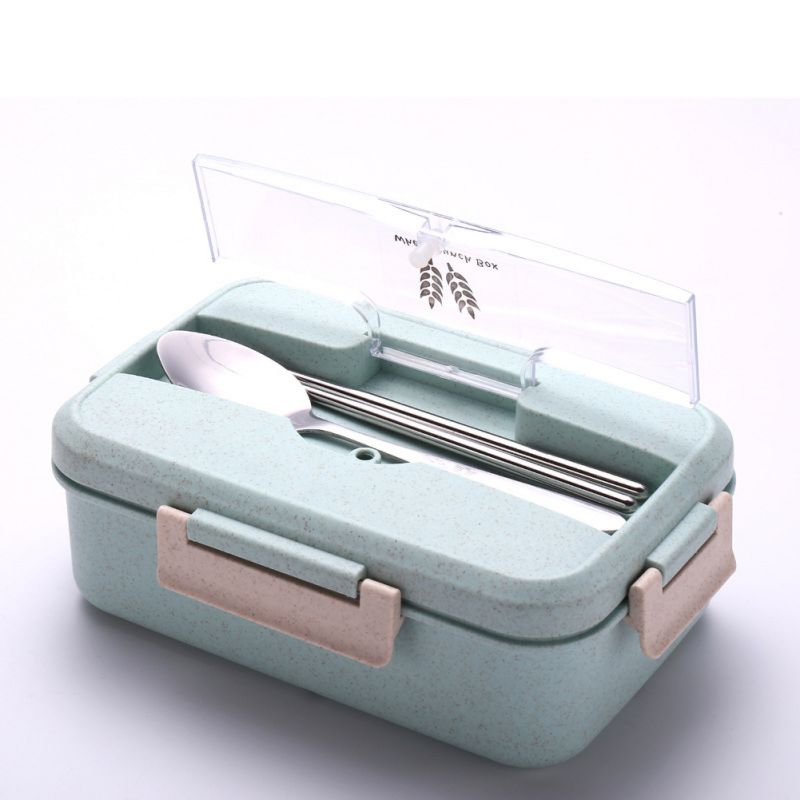 Wheat Stalk Lunch Box With Cutlery Unbreakable Safe Dishes Tableware Cup Safe Food Comideras For Microwave