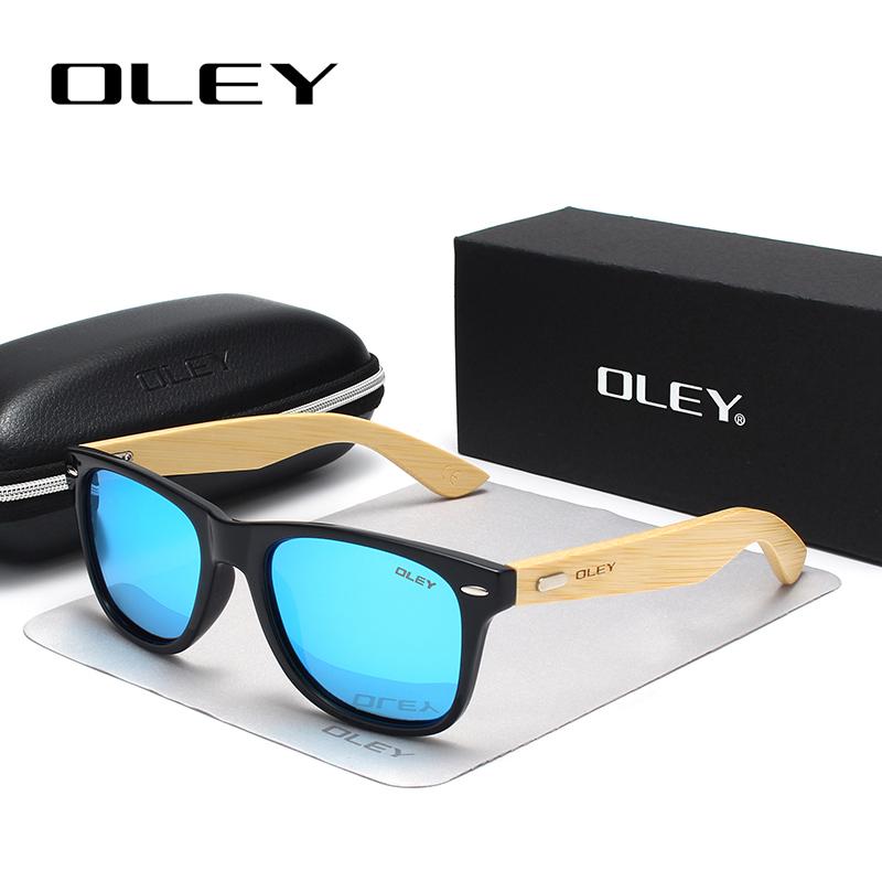 OLEY New Bamboo Polarized Sunglasses Men Wooden Sun glasses Women Brand Designer Original Wood Glasses masculino