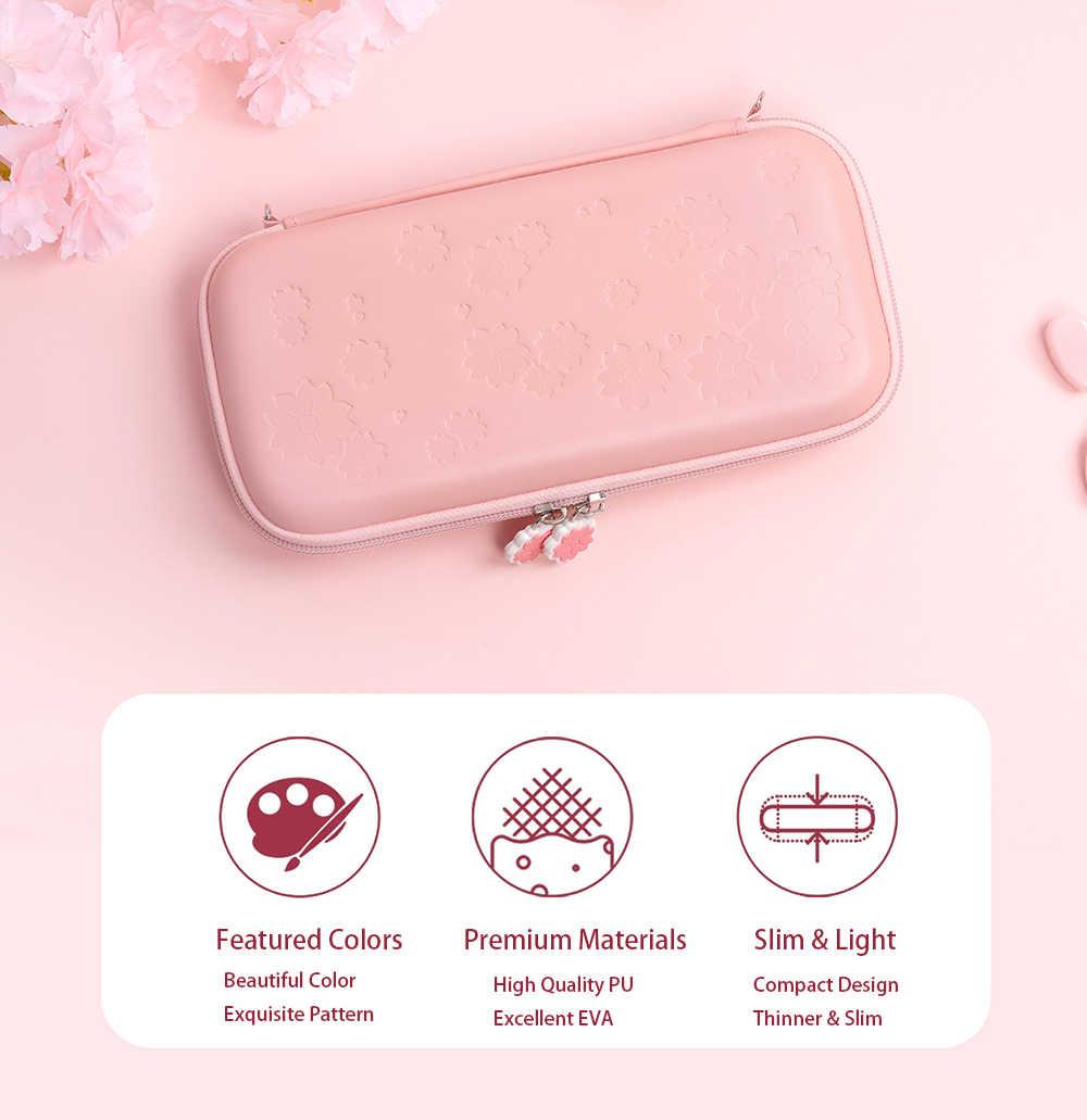 2020 Sakura Portable sac de rangement mallette de voyage pour Nintendo Switch jeu accessoires + 4 pièces Cat patte casquettes + 1 pièces verre trempé