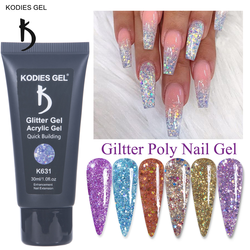 KODIES GEL Glitter Shiny Poly Nail Gel Extension 30ML UV Sequins Builder Gel Nail Polish Acrylic Lacquer for French Manicure NEW