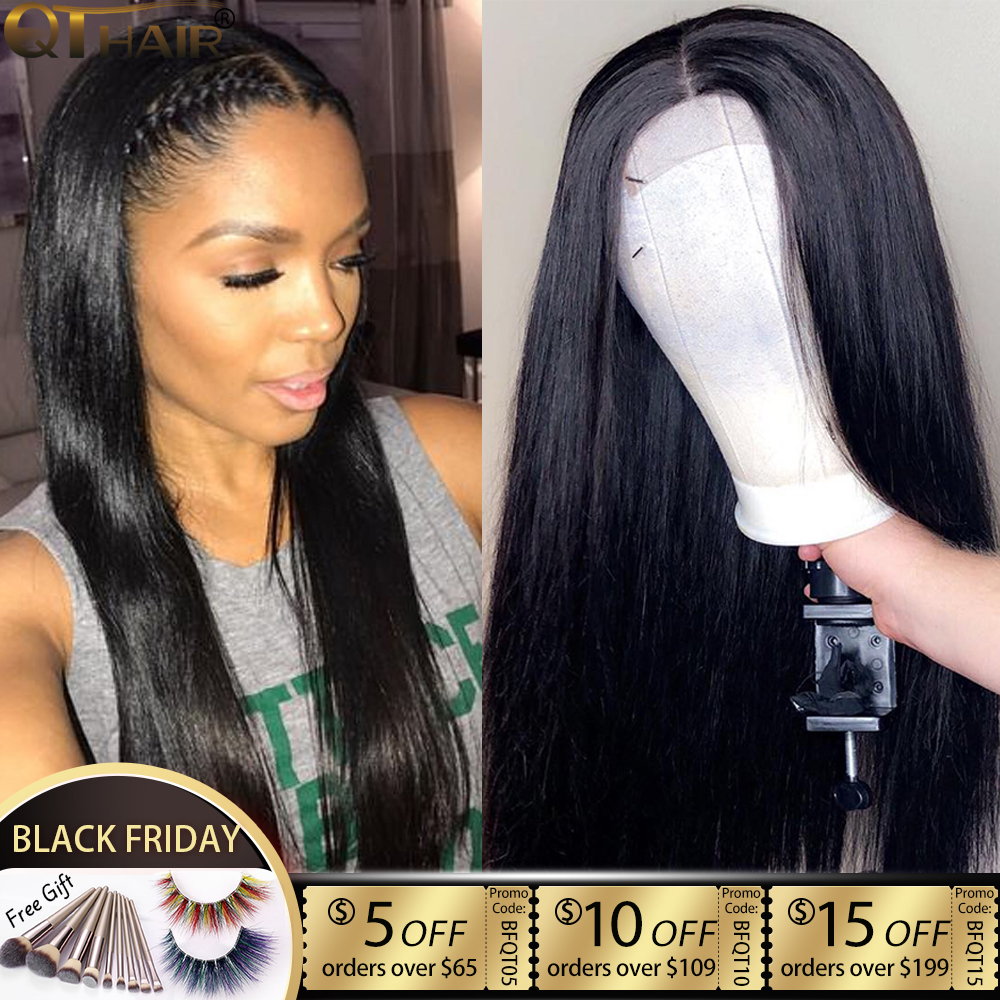 360 Lace Frontal Wigs 180 150 Density 13x4 Lace Front Human Hair Wigs Straight 13x6 Deep Part Lace Wigs Brazilian Remy Hair QT