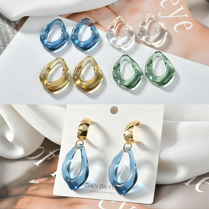 4pcs Autumn And Winter Color Transparent Special-shaped Resin Pendant Diy Earring Accessories