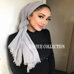 Image 3 - 卸売価格 90*180 センチメートル女性イスラム教徒ヒジャーブスカーフファムクリンクル musulman ソフト綿スカーフイスラムヒジャーブショールとラップ