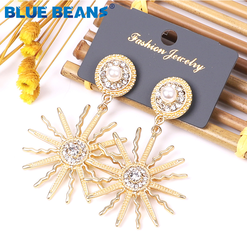 BLUE BEANS 2020 Meta Earrings Fashion Jewelry Drop Earrings For Women Golden Earrings Bohemia Kpop Girls Dangle Gold Earring