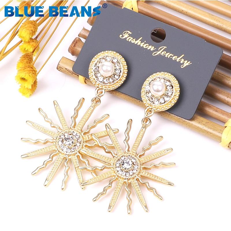 BLUE BEANS 2020 Meta Earrings Fashion Jewelry Drop Earrings For Women Golden Earrings Bohemia Kpop Girls Dangle Gold Earring