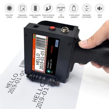 Handheld Portable Printer Mini Inkjet Label Print Machine Touch Screen 300-600DPI Intelligent USB QR Code Inkjet Label Printer portable hand jet handheld touch inkjet printer for logo expiry date batch code serial number label barcode qr code