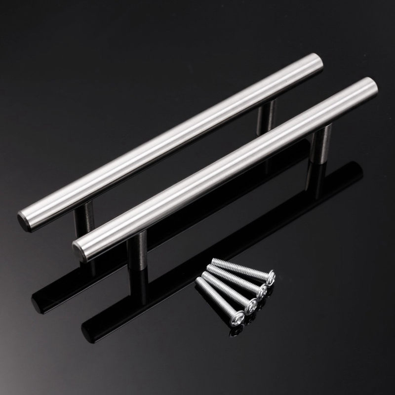 Stainless Steel T Bar Kitchen Door Handles 96mm hole centres