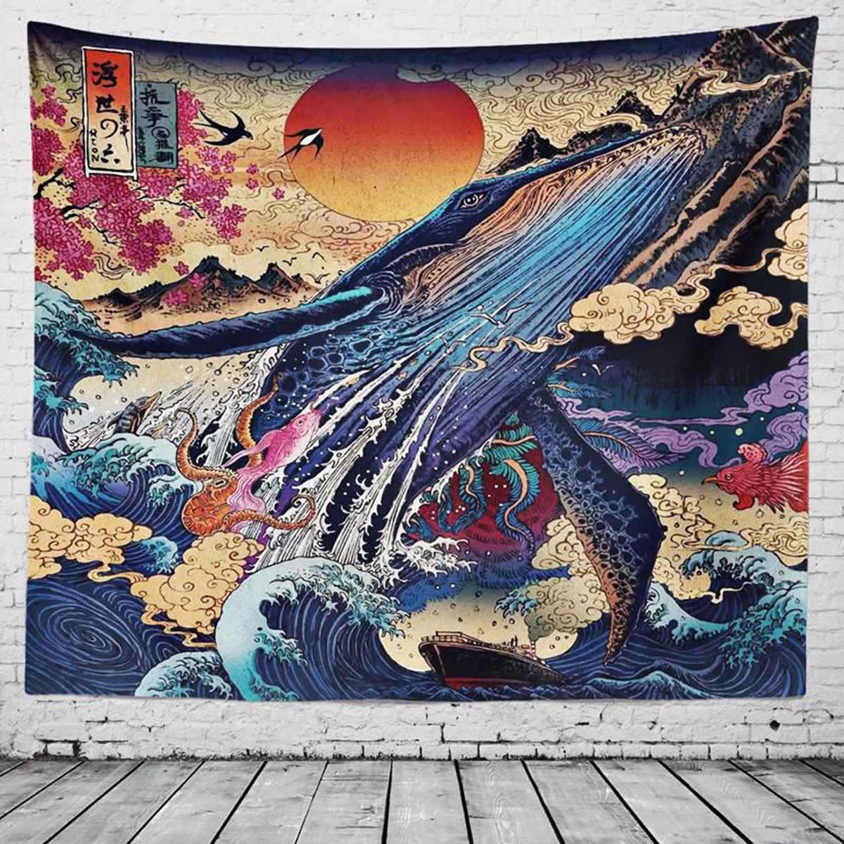 3 ขนาดญี่ปุ่นคลื่นพิมพ์แขวนปลาวาฬ Arowana กวางงู Totem แขวนผนัง Tapestries ผ้าคลุมเตียงผ้าห่ม