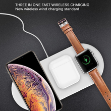3 в 1 QI 10 Вт двойное Беспроводное зарядное устройство для IPhone X XR XS MAX 8 Plus Магнитная Беспроводная зарядная станция для Apple Watch 4 3 2 1