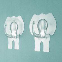 2pcs Transparent Adhesive Door Wall Hook Cartoon Elephant Shape Big Hooks Towel Hanging Hook Handbag Holder Bathroom Accessories