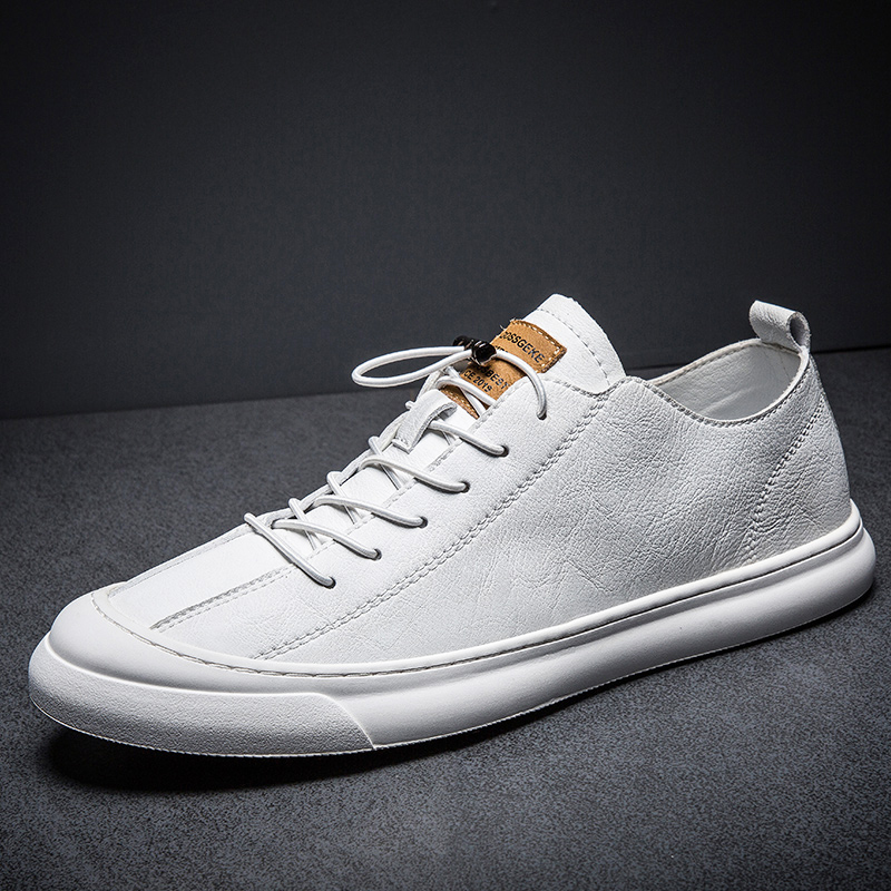 New 2019 High Quality Genuine Leather Shoes Men Flats Fashion Men's Casual Shoes Brand Man Soft Comfortable Lace Up Black White