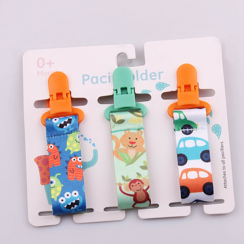 3pcs Baby Pacifier Clips Newborn  Personalised Soother Clip Chain Infant Cartoon Print Soother Chain Holder Feeding Accessories