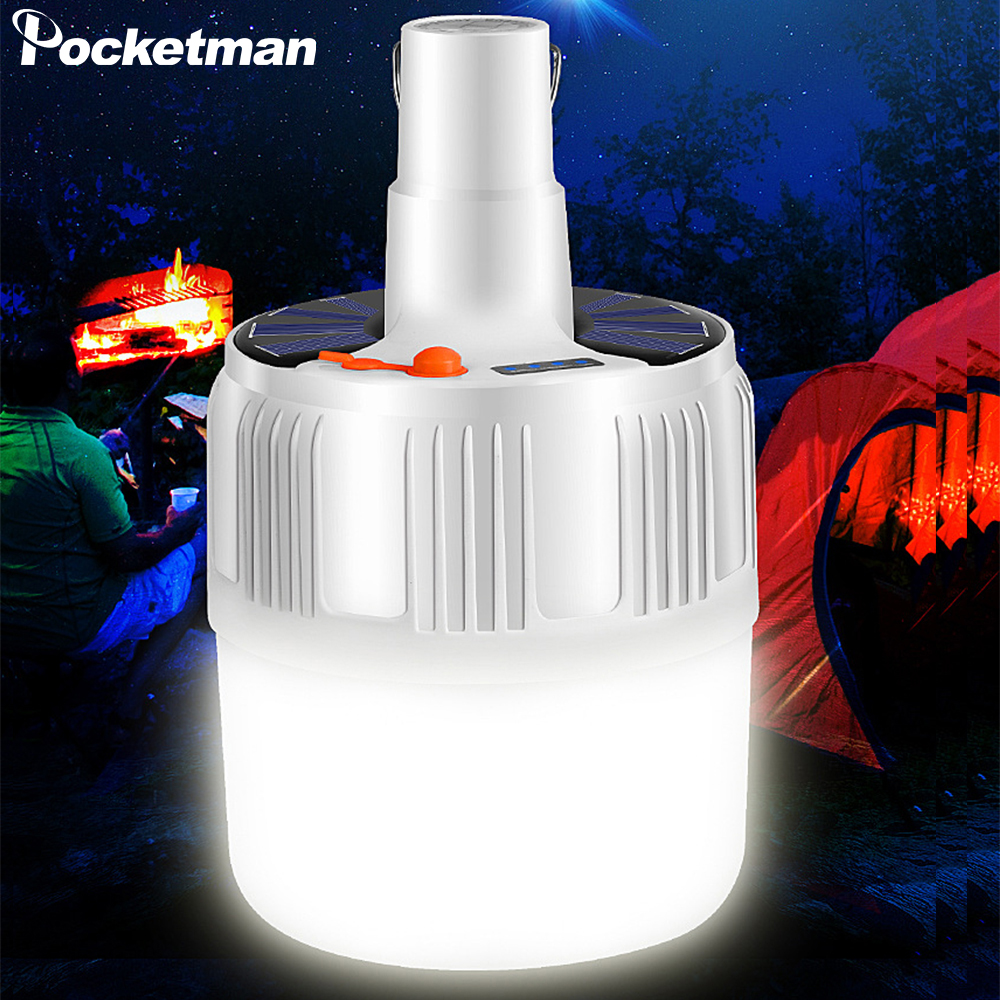Powerful Rechargeable LED Light Bulb Solar LED Bulb Lamp Portable Night Light Emergency Light with Hook for Outdoor Lighting