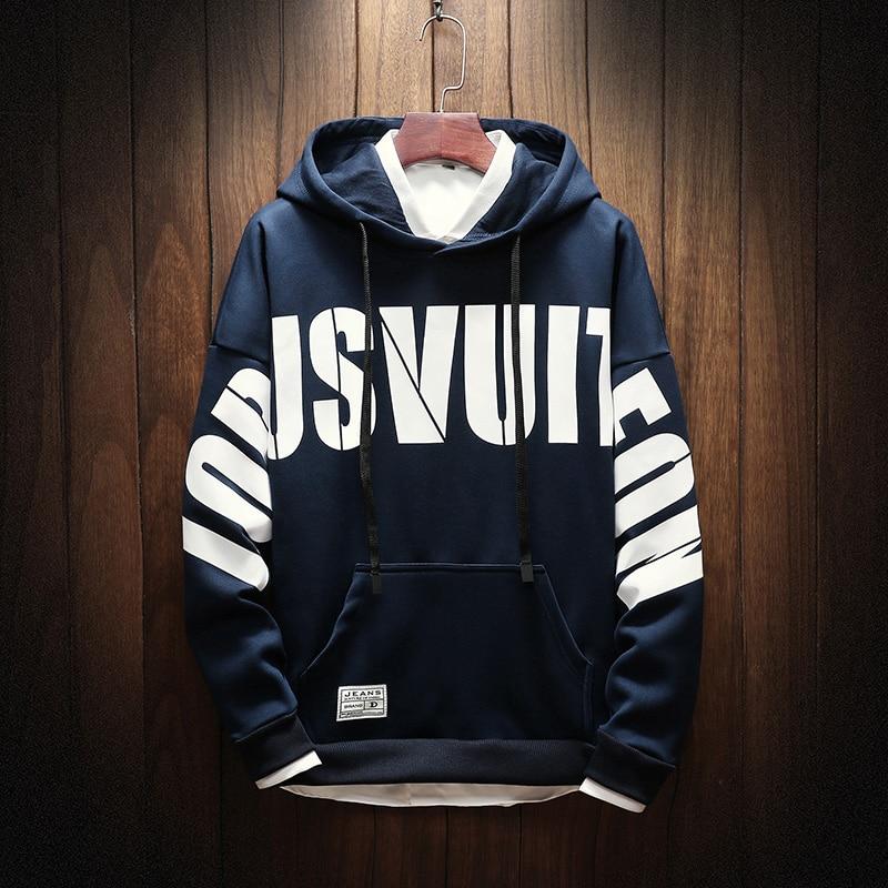 Hoodies Men Hooded Printed Leisure Loose Harajuku Pockets Sweatshirts Mens Korean Style Simple Pullovers