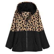 Leopard Patchwork Zipper Jacket Women Long Sleeve Streetwear Tops 2019 Fashion Fleece Hooded Pullover Casual Coats And Jackets(China)