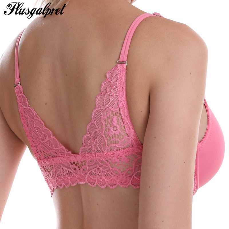 Plusgalpret Front Close Floral Lace Beauty Back Push Up Brassiere Sexy 3/4 Cup Underwire Bra for Women Underwear Female Lingerie