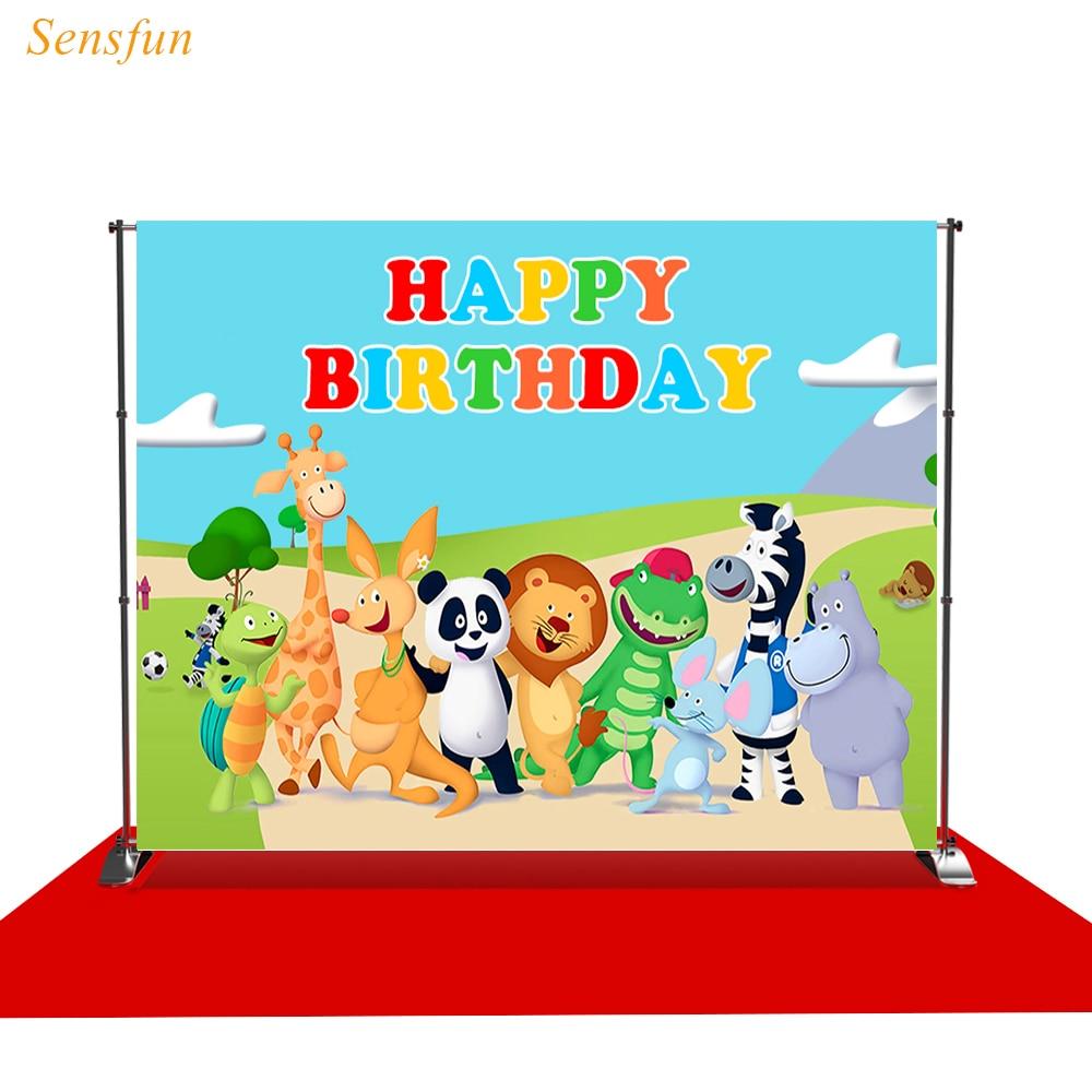 LEVOO фон для фотосъемки с изображением Happy Birthday Животные из мультфильма Детский фон для фотосъемки с изображением фото студийная съемка Опор...
