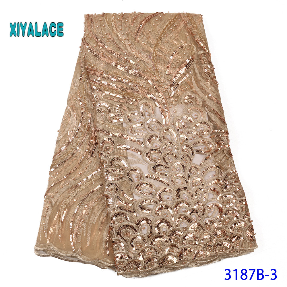 Luxury 2020 High Quality African Lace Fabric French Organza Lace Fabric New Arrival Sequins Lace Fabrics For Wedding YA3187B-3