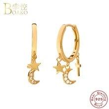 Luz de luxo 925 prata lua estrela hoop brincos ouro ins estrela zircão pequeno hoop brincos para mulheres coreano jóias presente a40
