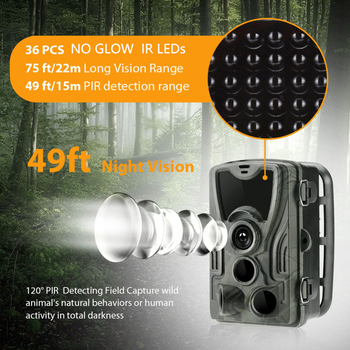 HC801 Hunting Trail Camera 20MP 1080P Night Version Invisible Infrared LED Wild Cameras 0.3s Trigger Surveillance Photo Traps 3