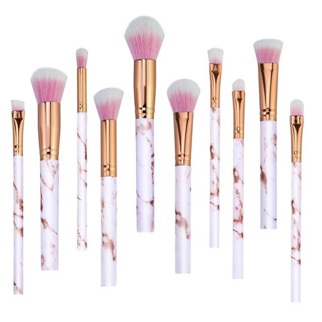10Pcs/Set Makeup Brushes Professional Marbling Handle Powder Foundation Eyeshadow Lip Make Up Brushes Set Beauty Tools 5
