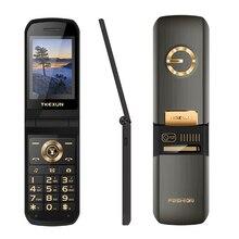 TKEXUN Slim Flip Touch Display Russian Key SOS Speed Call Magic Voice Flashlight Cellphone
