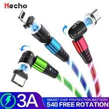 Cable de carga magnético de rotación de 540 grados, Samaung para iPhone, LED, Micro USB, tipo C, iluminación, cargador de teléfono móvil