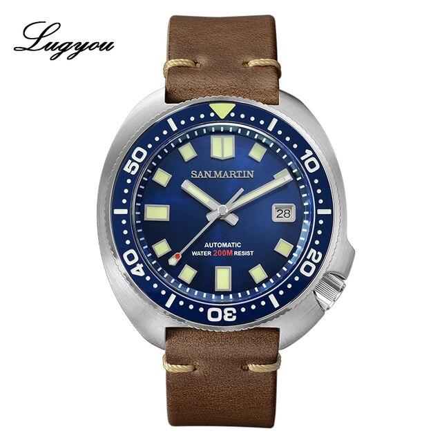 Lugyou סן מרטין צב Diver גברים שעון נירוסטה מכאני קרמיקה לוח מסתובב 20Bar ספיר קריסטל רצועת עור