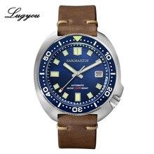 Lugyou San Martin Schildpad Diver Mannen Horloge Roestvrij Staal Mechanische Keramische Roterende Bezel 20Bar Sapphire Crystal Lederen Band