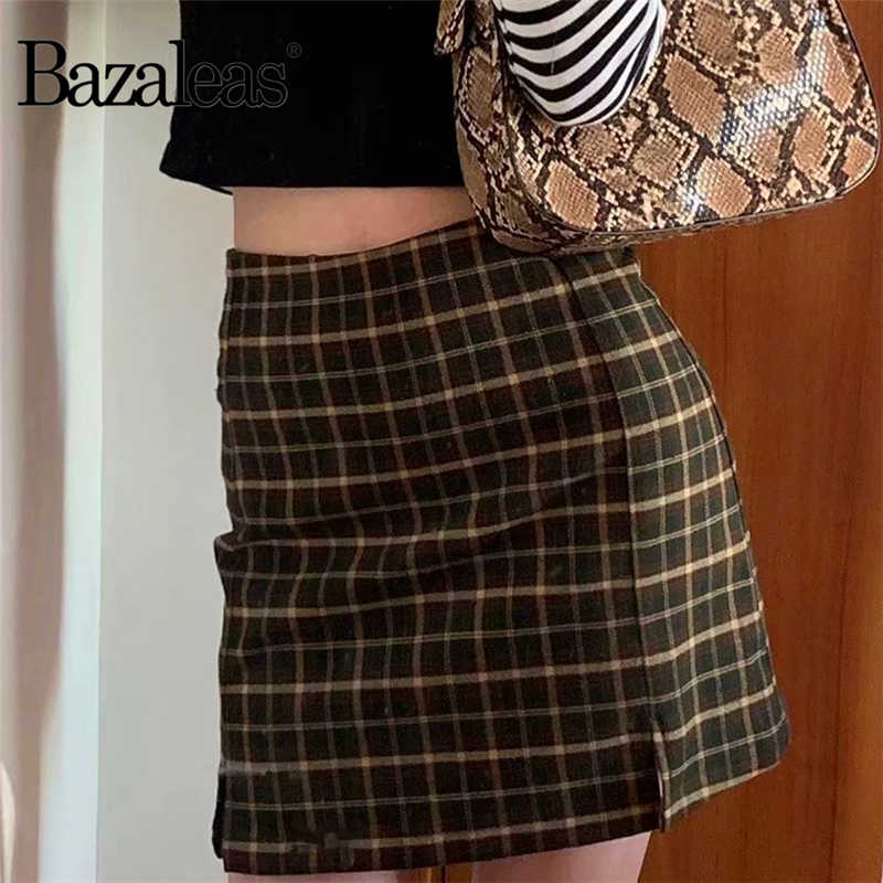 Bazaleas harajuku A Vita Alta Spaccato Pannello Esterno di Scarsità Streetwear Tartan Marrone Donne un-Linea Gonna saia delle donne del plaid Mini Gonna