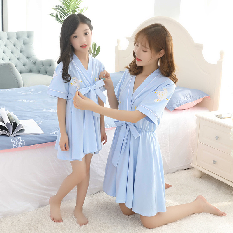 Girl'S Nightgown Summer Wear Short-sleeve Dress Chinese Clothing Chinese-style Parent-child Matching Outfit Mother & Daughter Bi