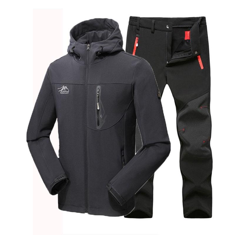 Man Winter Waterproof Fishing Skiing Hiking Trekking Camping Men Warm Softshell Fleece Outdoor Jacket Suit Pants 5XL Plus size