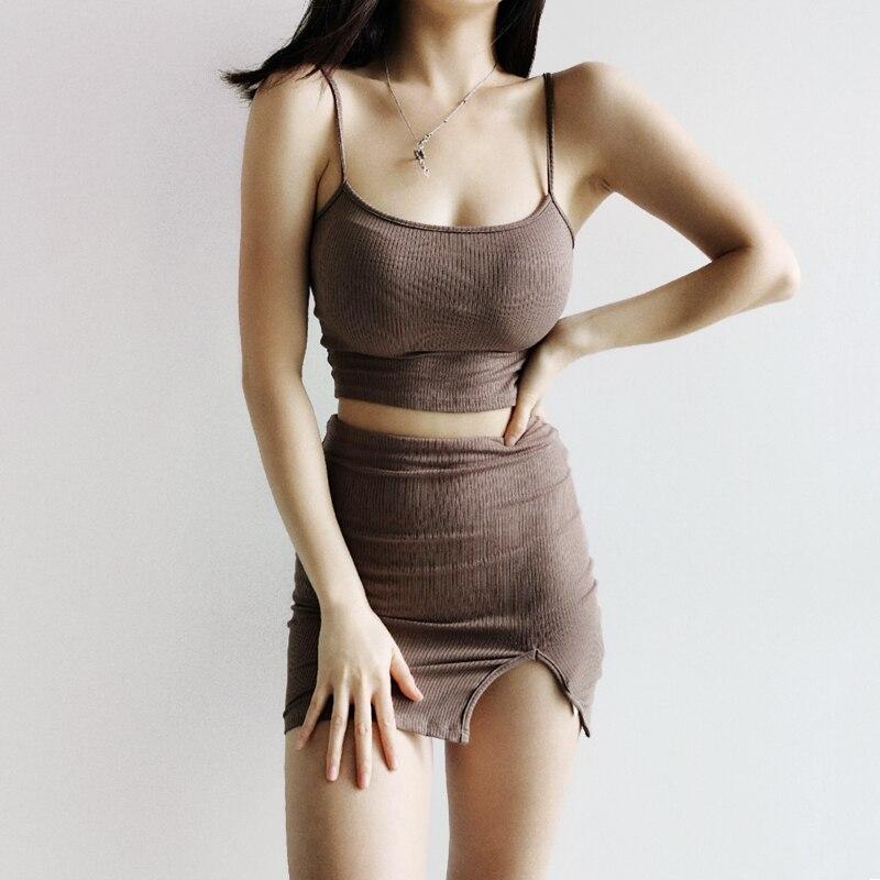 Женский облегающий топ в рубчик с разрезом спереди, мини юбка в рубчик Спортивные костюмы      АлиЭкспресс