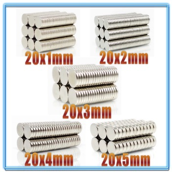 5~200Pcs N35 Round Magnet 20x1 20x2 20x3 20x4 20x5 Neodymium Permanent NdFeB Super Strong Powerful Magnets 20*3 20*5